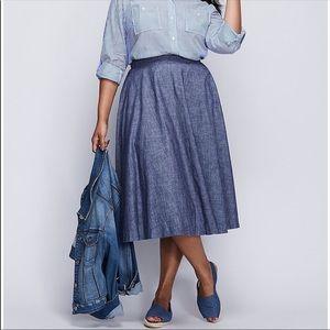 Lane Bryant Chambray Circle Skirt - 18 Plus Midi